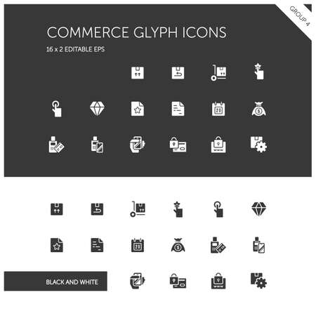 Commerce. Box, diamond, hand, swiping machine, security, money and calendar group. Isolated icon set on black and white background. Glyph style vector illustration