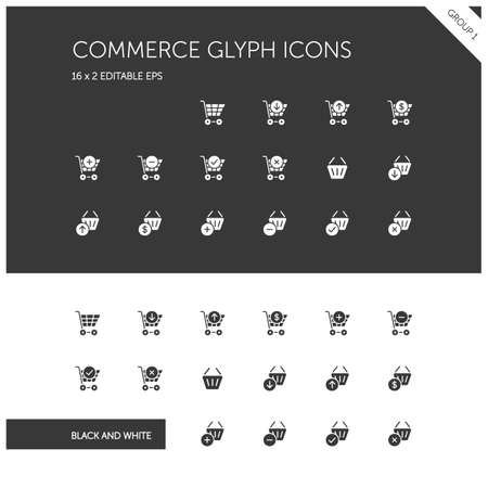 Commerce. Shopping cart and basket group. Store web. Isolated icon set on black and white background. Glyph vector illustration