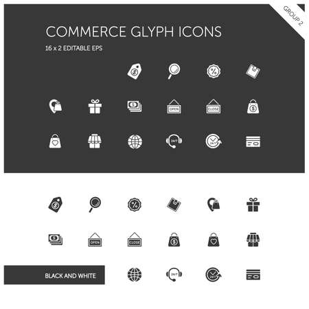Commerce. Store, tag, wallet, pay, label, money, location and call center group. Isolated icon set on black and white background. Glyph vector illustration Illustration