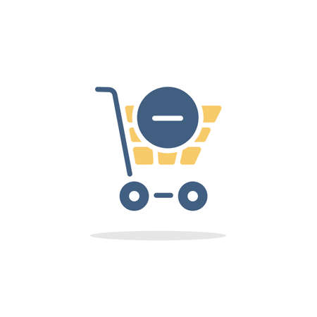 Shopping cart. Delete product. Color icon with shadow. Commerce glyph vector illustration