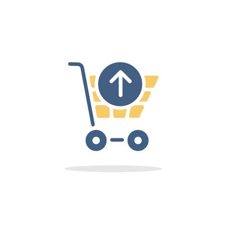 Shopping cart. Up arrow. Color icon with shadow. Commerce glyph vector illustration Illustration