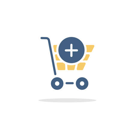 Shopping cart. Add product. Color icon with shadow. Commerce glyph vector illustration