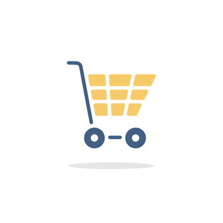 Empty shopping cart. Color icon with shadow. Commerce glyph vector illustration