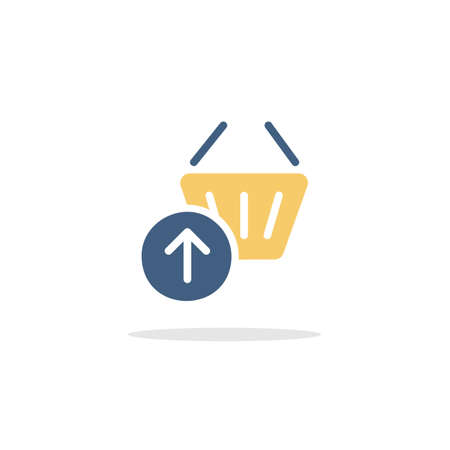 Shopping basket. Up arrow. Color icon with shadow. Commerce glyph vector illustration
