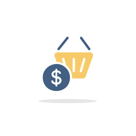 Shopping basket. Dollar symbol. Color icon with shadow. Commerce glyph vector illustration