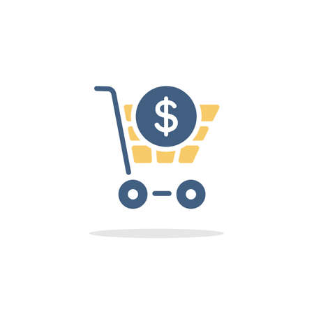 Shopping cart. Dollar symbol. Color icon with shadow. Commerce glyph vector illustration Illustration