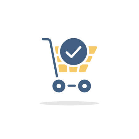 Shopping cart. Check mark. Color icon with shadow. Commerce glyph vector illustration