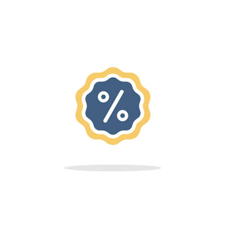 Discount tag. Percent label. Color icon with shadow. Commerce glyph vector illustration