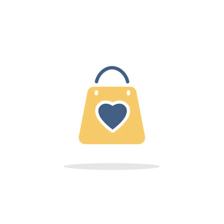 Valentine shopping bag with heart. Color icon with shadow. Commerce glyph vector illustration