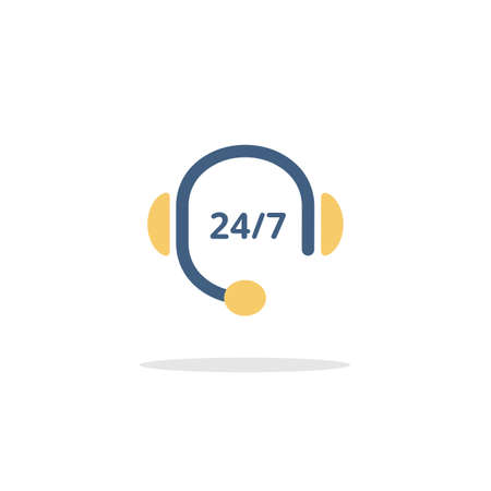 Call center. Headphones. Color icon with shadow. Commerce glyph vector illustration