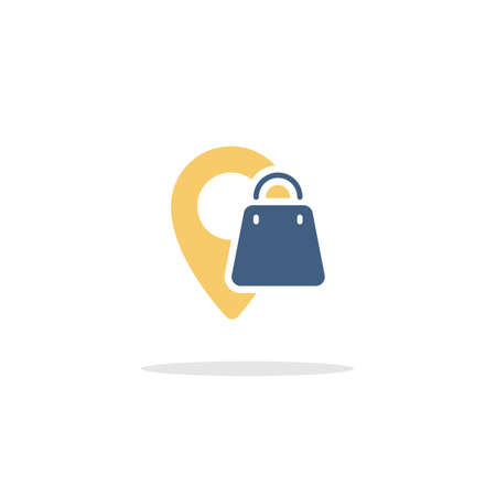 Location. Shopping bag. Color icon with shadow. Commerce glyph vector illustration