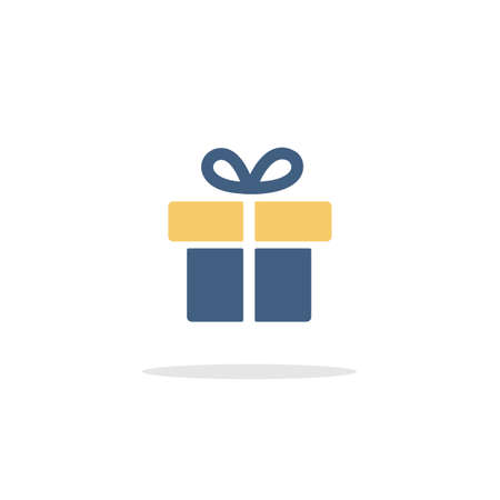 Gift. Box with ribbon. Color icon with shadow. Commerce glyph vector illustration Illustration