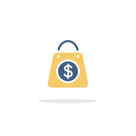 Shopping bag. Dollar sign. Color icon with shadow. Commerce glyph vector illustration
