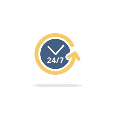 Clock. Assistance service. Color icon with shadow. Commerce glyph vector illustration