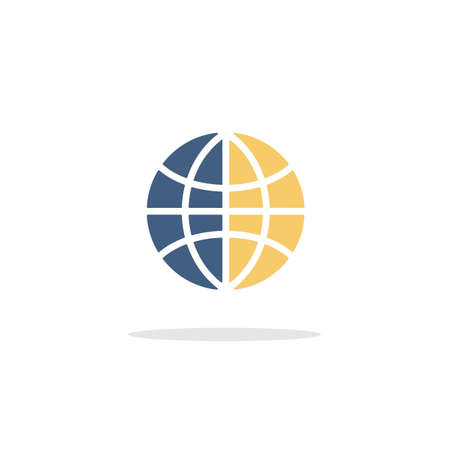 Globe. World sign. Earth planet. Color icon with shadow. Commerce glyph vector illustration