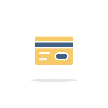 Credit card. Payment options. Color icon with shadow. Commerce glyph vector illustration