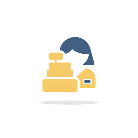 Female supermarket cashier. Woman and a cash register. Color icon with shadow. Commerce glyph vector illustration