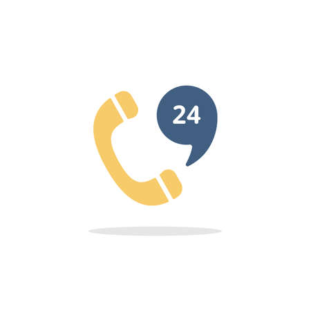 Phone service 24 hours. Support and service. Color icon with shadow. Commerce glyph vector illustration