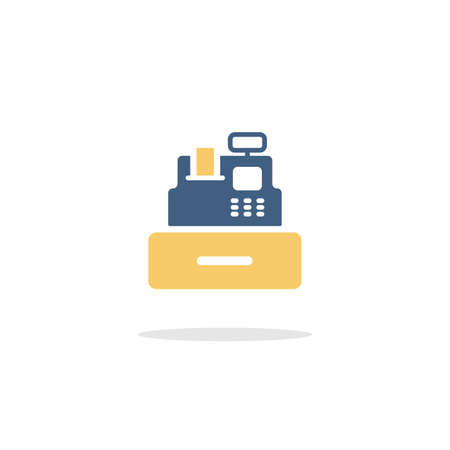 Cash register. Cashier machine. Color icon with shadow. Commerce glyph vector illustration