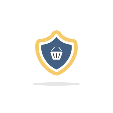 Secure purchase. Security shield and shopping basket. Color icon with shadow. Commerce glyph vector illustration Illustration