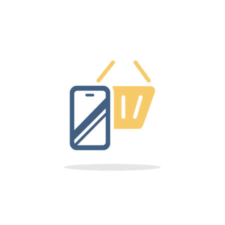 Online store. Mobile payment. Smartphone and shopping basket. Color icon with shadow. Commerce glyph vector illustration Illustration