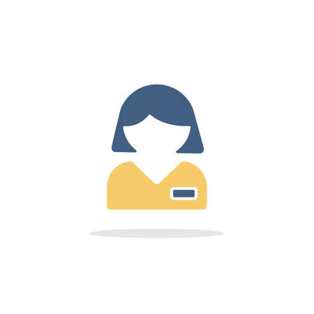 Employed people. Woman working. Color icon with shadow. Commerce glyph vector illustration Illustration