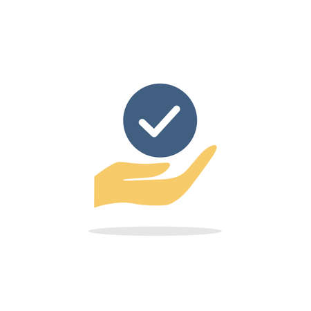 Hold hand check mark. Color icon with shadow. Commerce glyph vector illustration Illustration