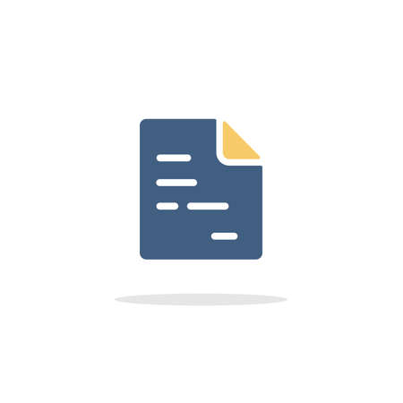 Text document. Paper with content. Color icon with shadow. Commerce glyph vector illustration