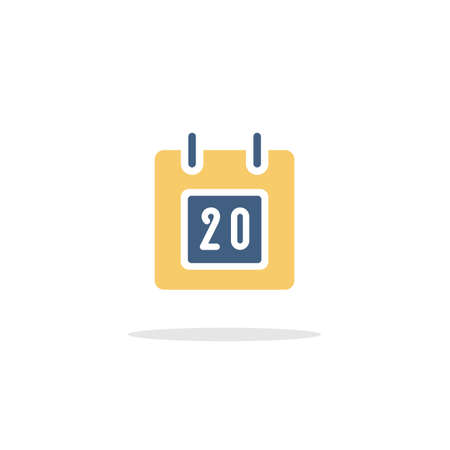 Calendar. Diary date. Color icon with shadow. Commerce glyph vector illustration