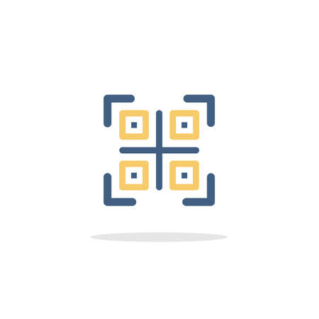 QR code. Web and shopping payment technology. Color icon with shadow. Commerce glyph vector illustration
