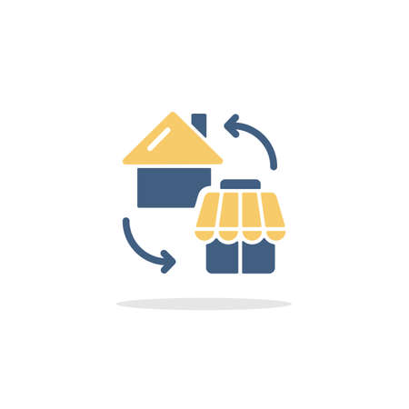 House and shop. Home shopping concept. Color icon with shadow. Commerce glyph vector illustration Illustration