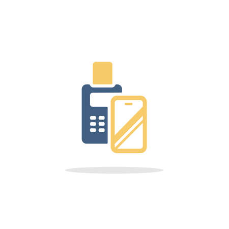 Transaction with smartphone. Swiping terminal payment. Pay with mobile. Color icon with shadow. Commerce glyph vector illustration Illustration