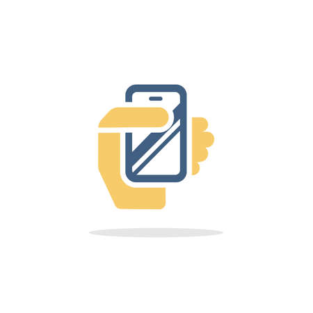 Smartphone in a hand. Mobile payment technology. Color icon with shadow. Commerce glyph vector illustration