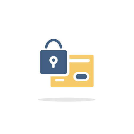 Secure credit card payment. Security padlock. Color icon with shadow. Commerce glyph vector illustration