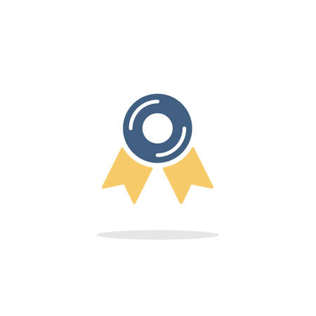 Approved or certified medal. Quality guarantee. Color icon with shadow. Commerce glyph vector illustration