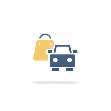 Shopping bag and car. Pick up at the store. Color icon with shadow. Commerce glyph vector illustration