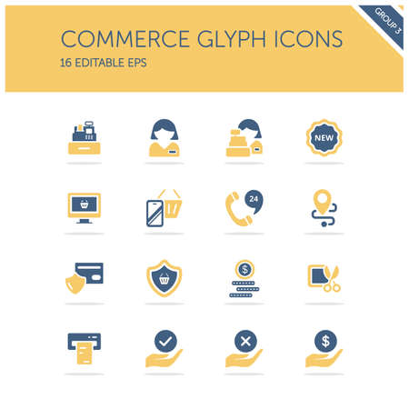 Commerce. People, cashier machine, phone, security, ticket, money and hands group. Isolated color icon set. Glyph vector illustration