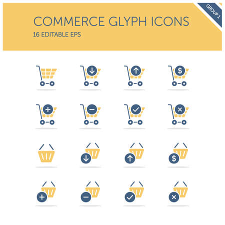 Commerce. Shopping cart and basket group. Store web. Isolated color icon set. Glyph vector illustration Illustration