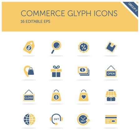 Commerce. Store, tag, wallet, pay, label, money, location and call center group. Isolated color icon set. Glyph vector illustration