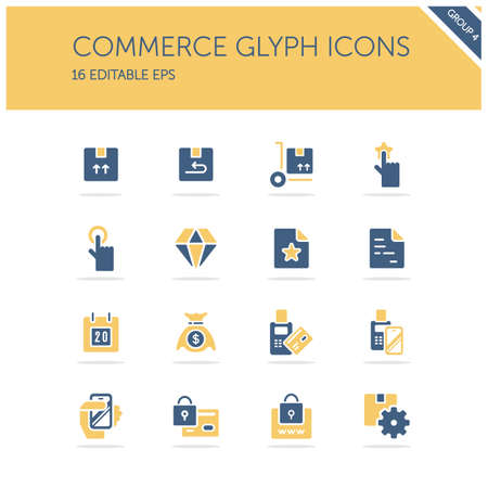 Commerce. Box, diamond, hand, swiping machine, security, money and calendar group. Isolated icon set. Isolated color icon set. Glyph vector illustration