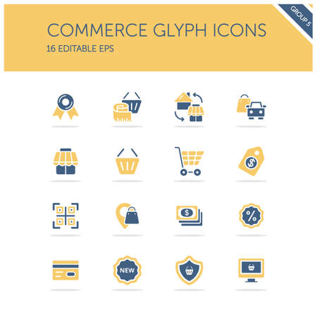 Commerce. Store, tag, security, discount and credit card group. Isolated color icon set. Glyph vector illustration