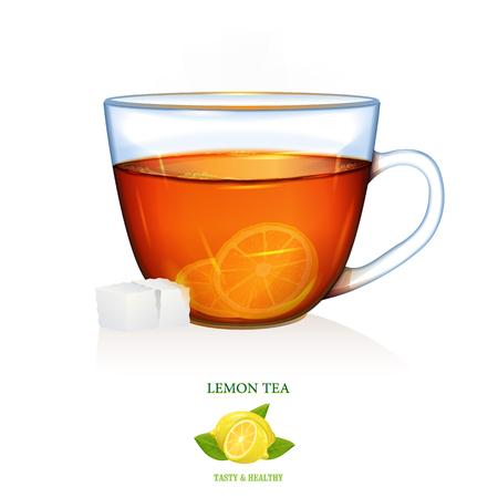 Lemon Tea illustration. Vector. Lemon tea with two peaces of sugar. Glass cup.