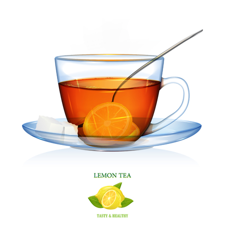 Lemon Tea illustration. Vector. Lemon tea with two peaches of sugar and spoon. Glass cup and saucer. Illustration