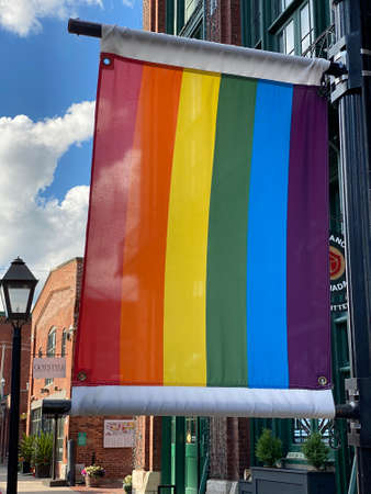 Toronto, Ontario / Canada - June 20 2020: Rainbow flag in the distillery district of downtown toronto during pride week.