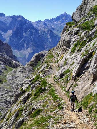 Hikking from Fuente De to Collado Jermoso, Posada de Valdeon municipality, Leon, Spain. Picos de Europa National Park Stock Photo