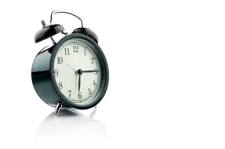 oclock: Alarm Clock isolated on white. Stock Photo