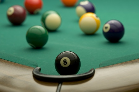 Picture of billiard balls with 8 ball.