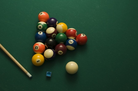 Picture of billiard balls and stick.