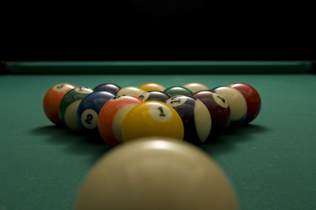 Picture of billiard balls with white ball.