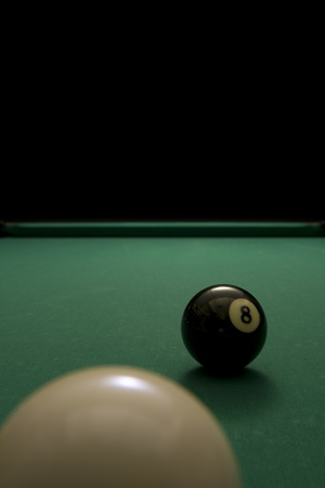 Picture of a white ball and 8 ball. Stock Photo